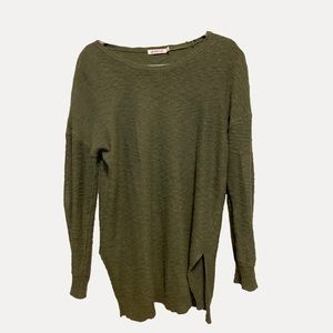 Dark Olive Scoop Neck Tunic Sweater